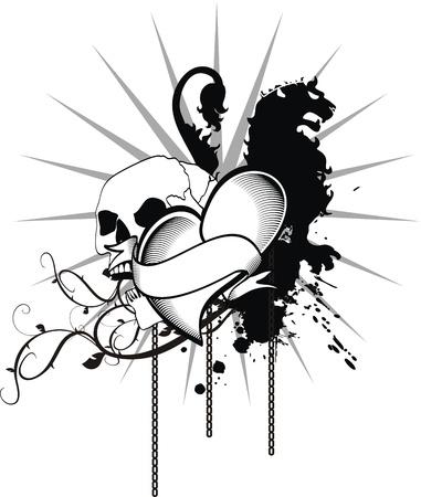 Heraldisch hart zwart in vector-formaat Stockfoto - 10515061