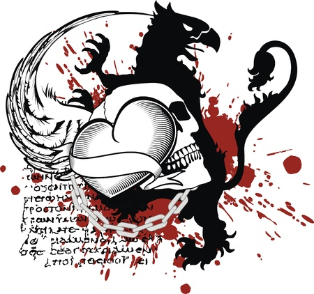 gryphon: heraldic heart black in vector format Illustration