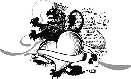 winged lion: her�ldica coraz�n negro en formato vectorial Vectores