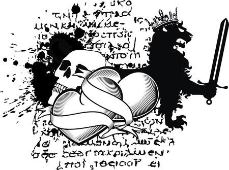 heraldic heart black in vector format Vector