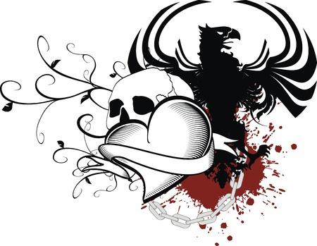 heraldic heart black in vector format Иллюстрация