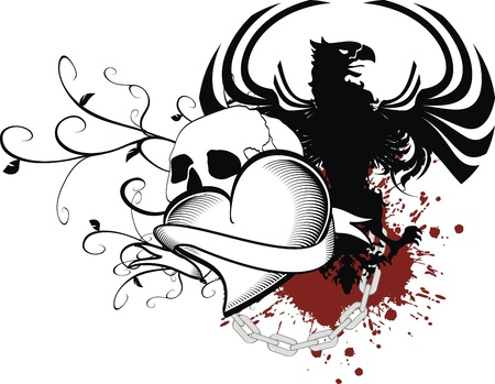 black: heraldic heart black in vector format Illustration