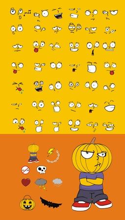 hallooween: pumpkin kid cartoon hallooween set
