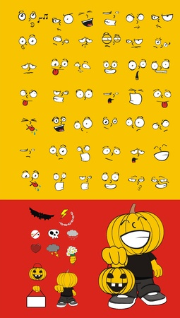 pumpkin kid cartoon halloween set Vector