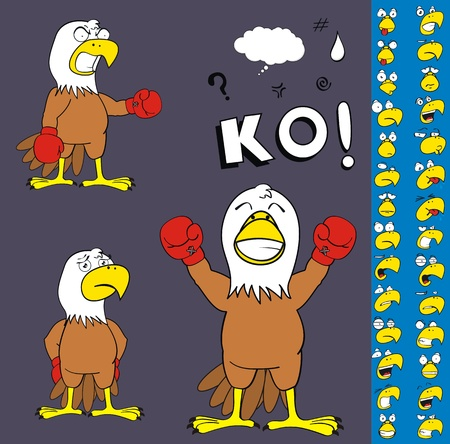 ko: eagle boxer cartoon set in vector format Illustration