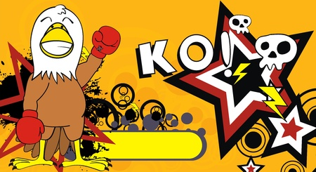 ko: eagle boxer cartoon background in vector format
