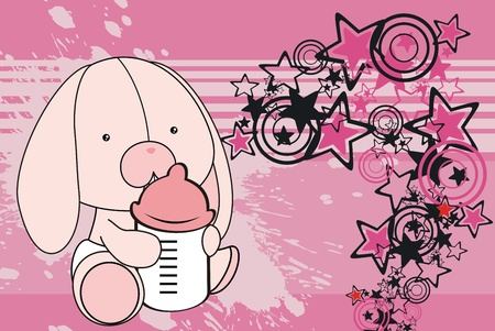 bunny baby cartoon background in vector format