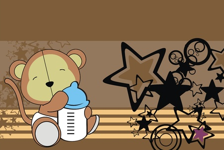 monkey baby cartoon background in vector format 矢量图像