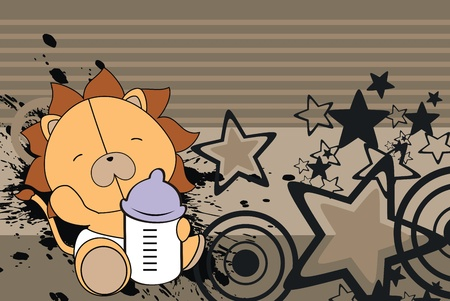 lion baby cartoon background in vector format