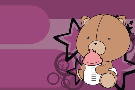 벡터 형식으로 테디 베어 아기 만화 배경