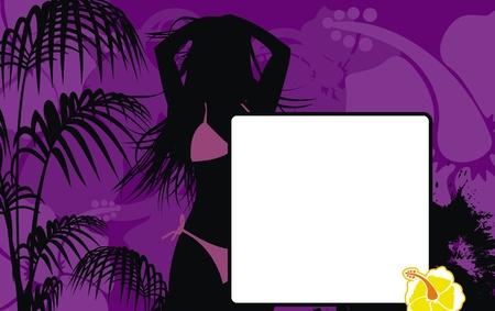 gir: tropical hawaii girl background in vector format