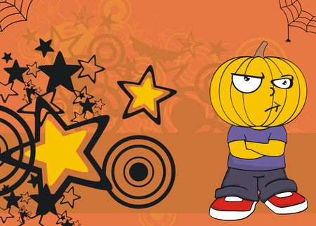 pumpkin kid cartoon hallooween background.