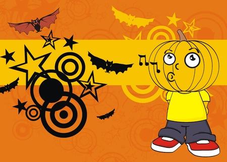 pumpkin kid cartoon hallooween background. Vector