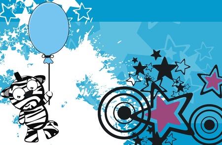 blowup: zebra funny cartoon background in vector format Illustration