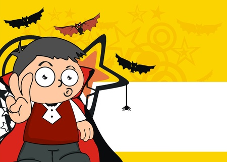 dracula kid cartoon hallooween background in vector format