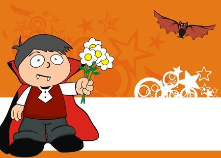 dracula kid cartoon hallooween background in vector format Vector