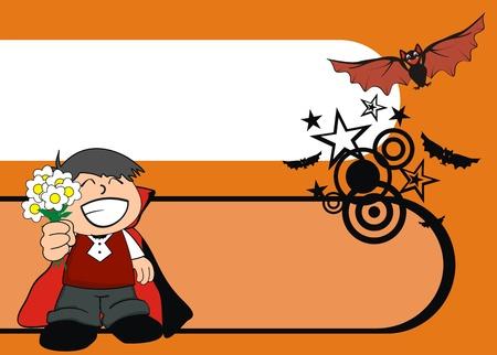 hallooween: dracula kid cartoon hallooween background in vector format
