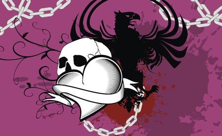 heraldic heart ribbon black background in vector format Vector