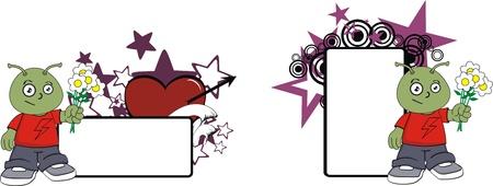 alien cartoon copyspace in vector format Vector