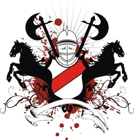 heraldic shield coat of arms crest horse in vector format Vector