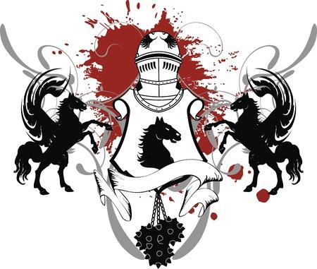 heraldische schild wapen crest paard in vector-formaat
