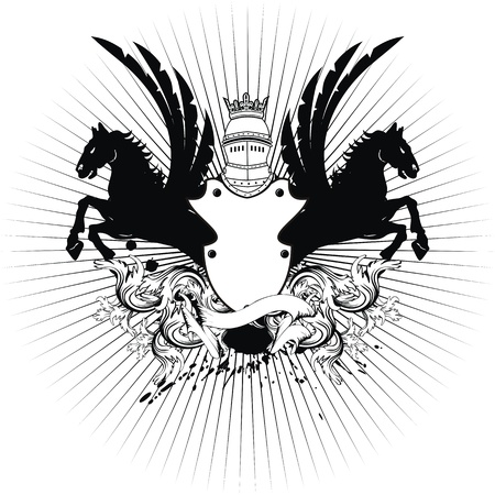 heraldic shield coat of arms crest horse in vector format