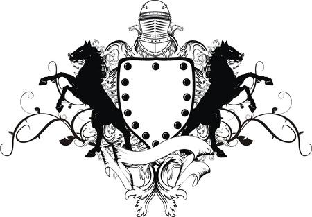 heraldischen Schild Wappen crest Pferd im Vektor-format