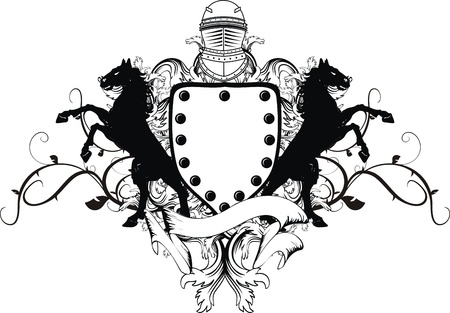 tattoo design: heraldic shield coat of arms crest horse in vector format