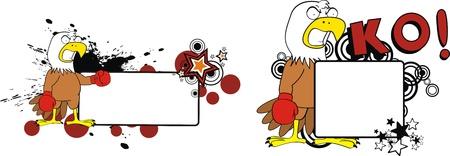 eagle boxer cartoon copyspace in vector format Vector