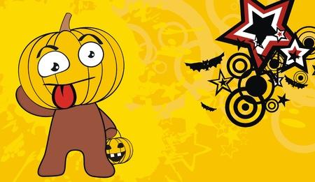 hallooween: pumpkin child cartoon hallooween background in vector format