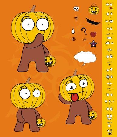 hallooween: pumpkin child cartoon hallooween set in vector format