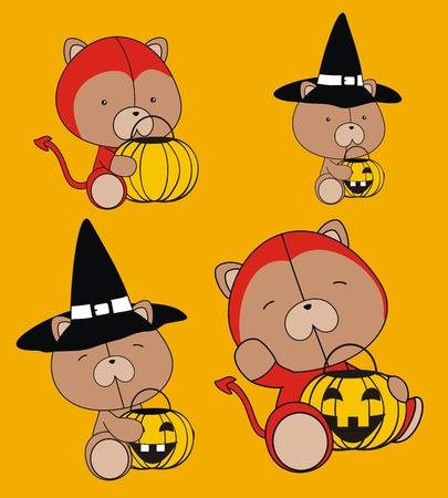 teddy bear baby cartoon halloween set Vector