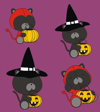 panther baby cartoon halloween set Vector