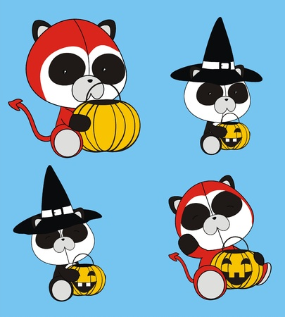 panda bear baby cartoon halloween set Vector