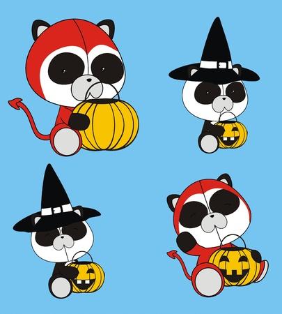 panda bear baby cartoon halloween set Vector