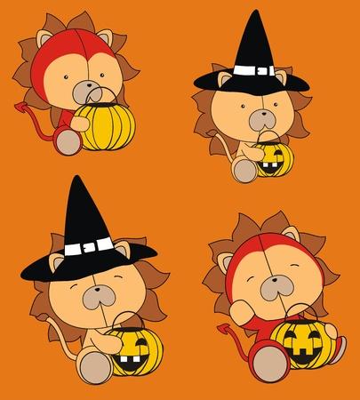 funny baby: lion baby cartoon halloween set Illustration