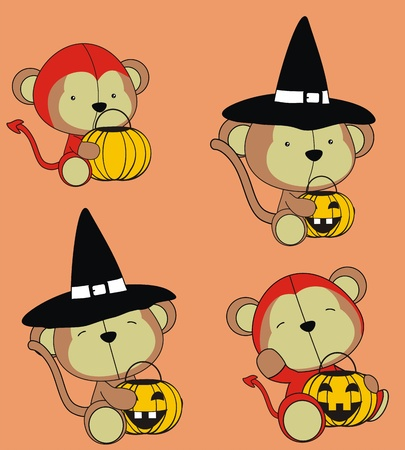 monkey baby cartoon halloween set Vector