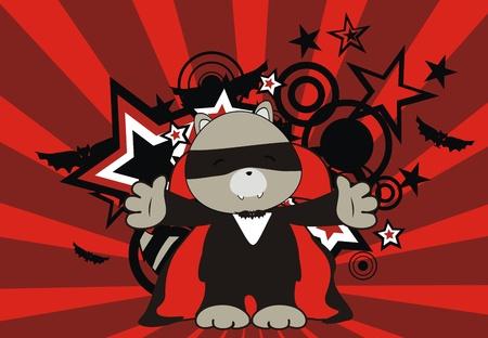 raccoon dracula cartoon background  Vector