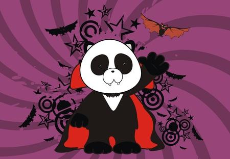 panda bear dracula cartoon background Vector