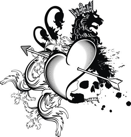 skull and crown: heraldic heart arrows crest