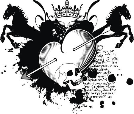 tattoo design: heraldic heart arrows crest