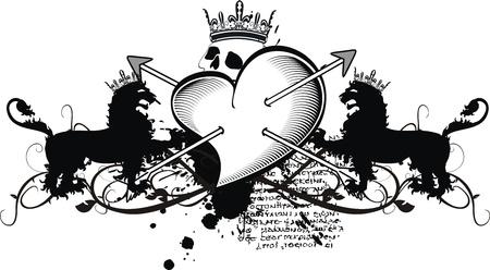 Heraldische hart pijlen crest Stockfoto - 10840383
