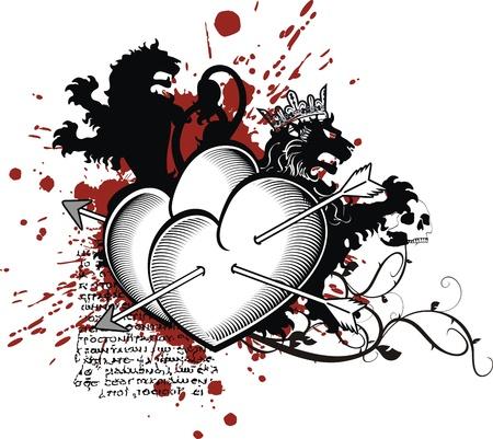 heraldic heart arrows crest Vector