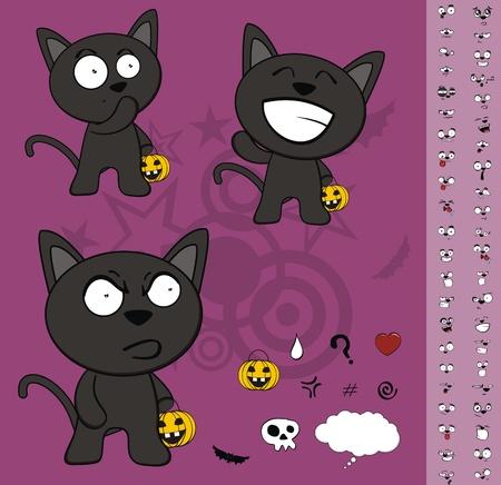 black: halloween black cat cartoon set  Illustration