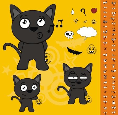 halloween black cat cartoon set Vector
