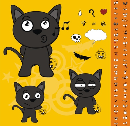 black: halloween black cat cartoon set