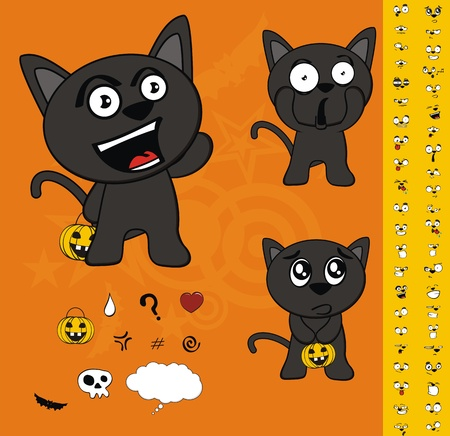 halloween black cat cartoon set Vector