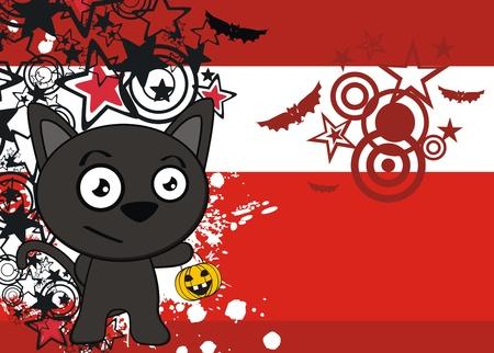 halloween black cat cartoon background  向量圖像