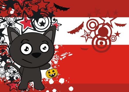 halloween black cat cartoon background  Vettoriali