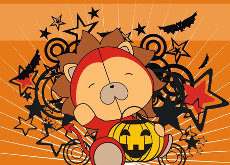 lion baby cartoon halloween background in vector format Stock Vector - 10877464
